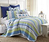Tides End Full / Queen Quilt Set Shades of Light Dark and Sky Blues, White, Lime Green Coastal Summer Stripes with Tropical Aqua and Blue Fish Pattern Reverse