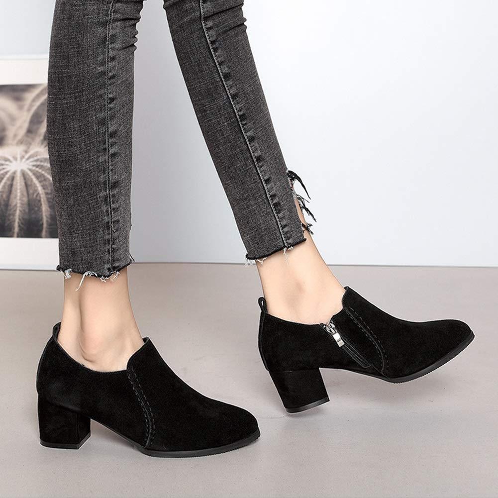 Damenschuhe HWF Spitzschuh Slip-on Mid-Heel Schuhe Mode weibliche  Schuhe (Farbe  weibliche  SCHWARZ größe   37) 4d791a