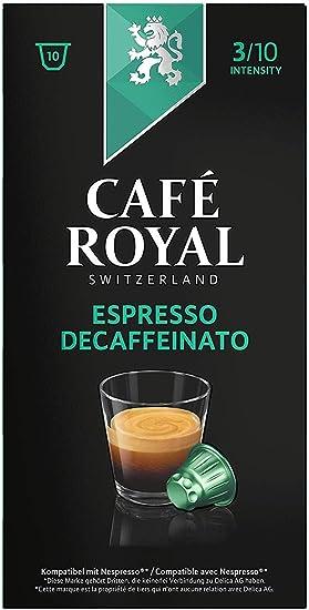 Café Royal Espresso Decaffeinato 100 cápsulas compatibles con Nespresso* Intensidad: 3 de 10 (