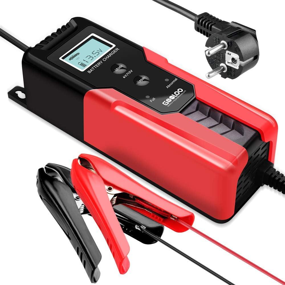 Gooloo Batterieladegerät Kfz 6v 12v 6a Vollautomatisches Intelligentes Erhaltungsladegerät Mit Lcd Bildschirm Für Autobatterie Motorradbatterie Pkw Mit Komfortstecke Ringösenkabel Batterieklemmen Auto
