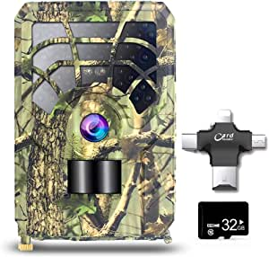 5MP 480P Trail and Game Camera Motion Activated Camera Outdoor Wildlife 46 LEDs Night Vision Camera with 32GB MicroSD Card and Multi-Functional Card Reader