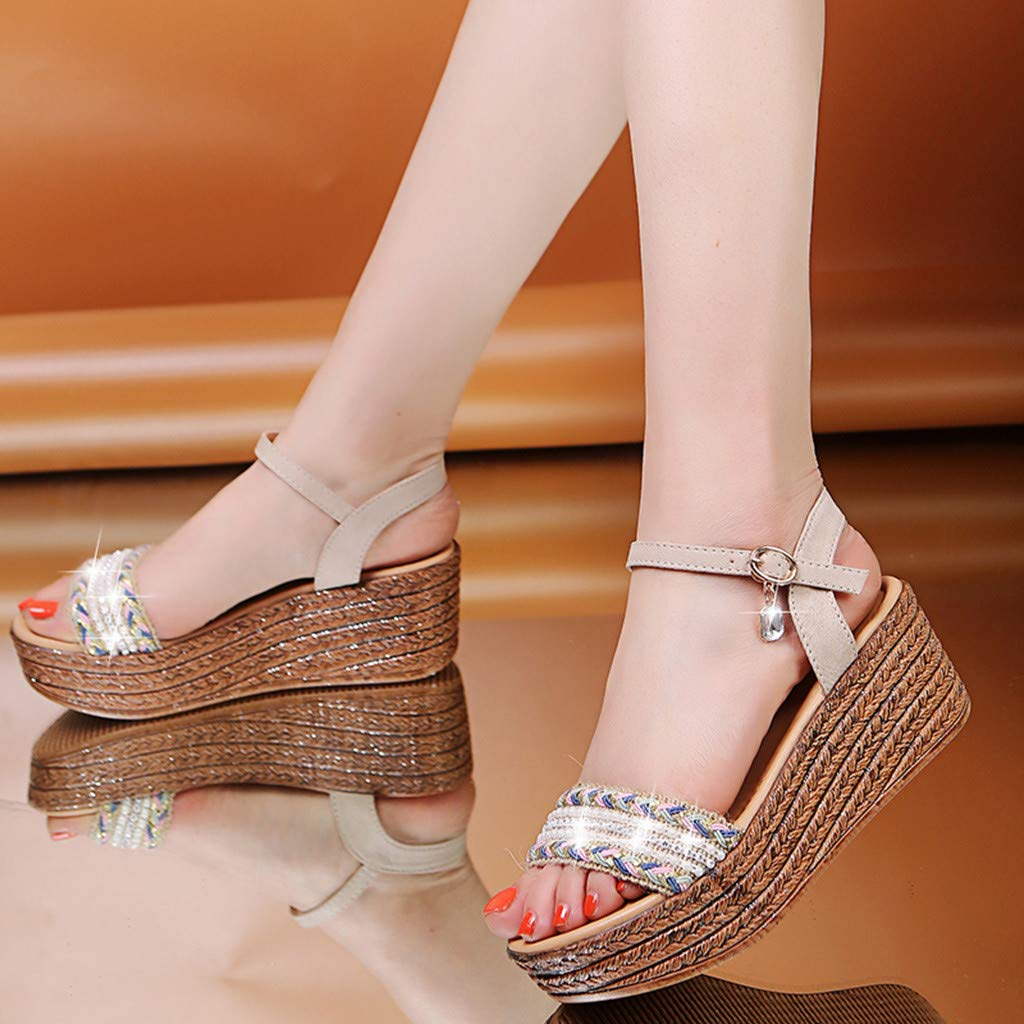 Moonker Women Summer Platform Wedges Sandals Wide Width Shoes Ladies Girls Fashion Casual Crystal Open Toe Shoes