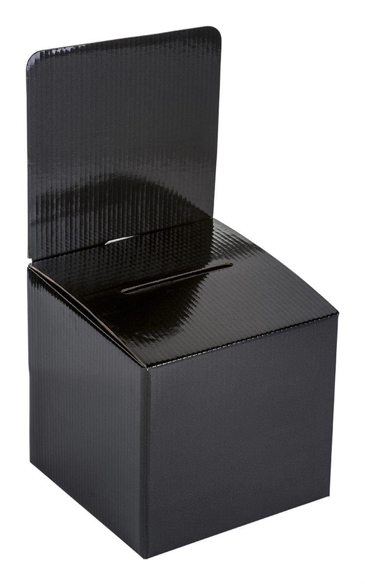 My Charity Boxes - Pack of 10 - Medium Cardboard Box - Ballot Box - Suggestion Box - Raffle Box - Ticket Box - With Removable Header for Tabletop Use (Black)