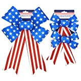 Hobeez Patriotic Red, White and Blue Stars and Stripes Set of Bows (1 Large, 2 Small)