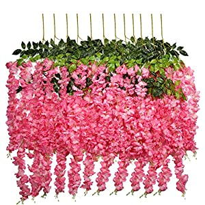 U'Artlines 24 Pack 3.6 Feet/Piece Artificial Fake Wisteria Vine Ratta Hanging Garland Silk Flowers String Home Party Wedding Decor Extra Long and Thick (24, Pink) 2