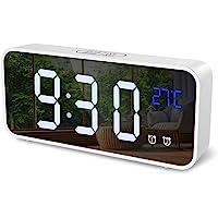 ORIA Digital Alarm Clock, Mirror LED Clock, Desk Clock with Voice Control, 4 Adjustable Brightness, Dual Alarms, Snooze…