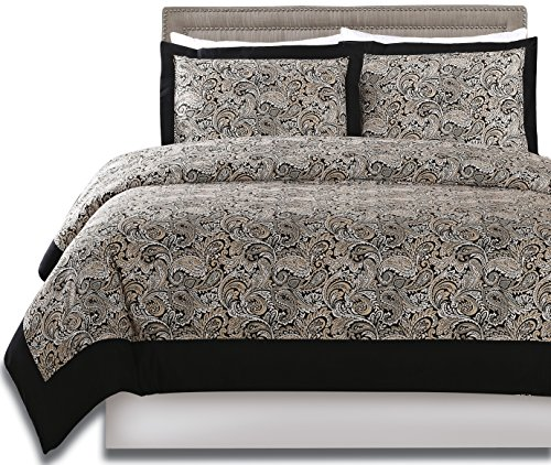 Printed Duvet-Cover-Set - Brushed Velvety Microfiber - Luxurious, Comfortable, Breathable, Soft & Extremely Durable - Wrinkle, Fade & Stain Resistant - Hotel Quality By Utopia Bedding (Queen, Paisley)