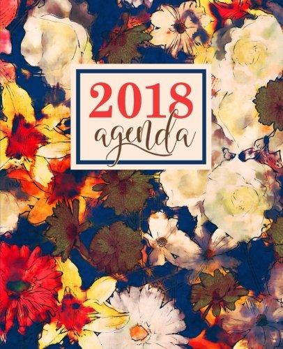 Agenda: 2018 Agenda semainier : 19x23cm : Motif floral abstrait bleu marine, ivoire et rouge (Calendriers, agendas, organiseurs & planificateurs) (Volume 6) (Spanish Edition)