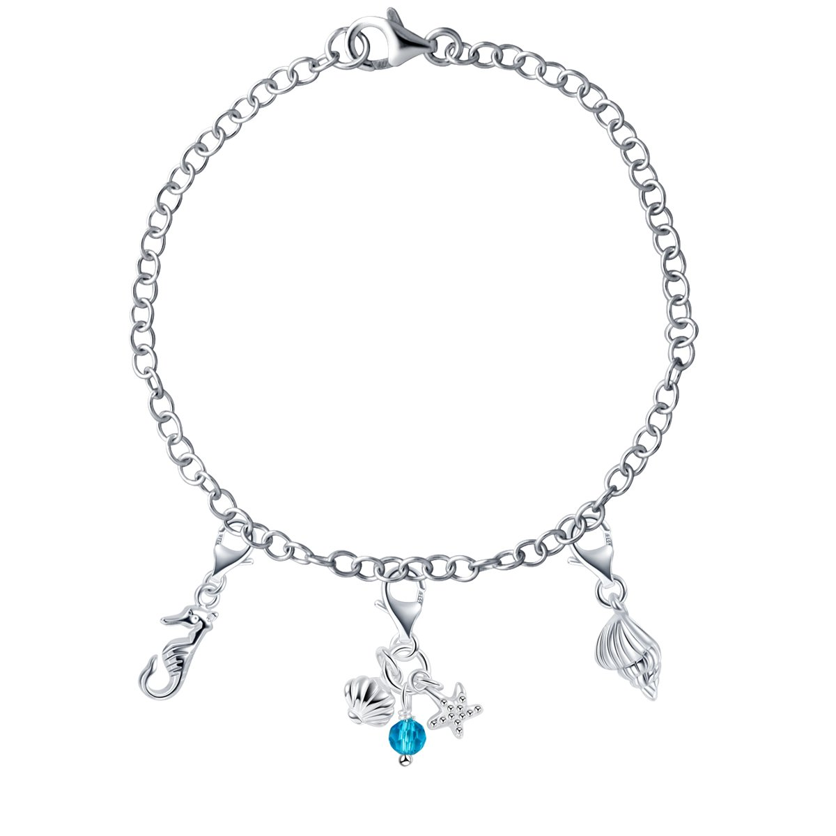 YAN /& LEI Sterling Silver Mix and Match Assorted Beach and Ocean Theme Charms Bracelet Set