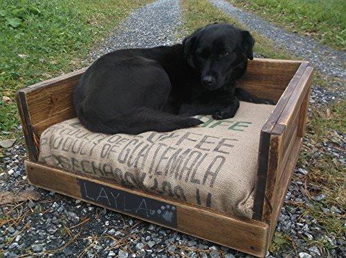 Rustic Wooden Dog Bed for Large Breeds - Distressed Pet Furniture