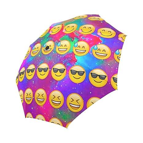 42dcab0056ea Fashionable Emojis Storm-Resistant Auto Open and Close Folding Travel  Umbrella, Funny Portable Foldable Sun Rain Umbrella