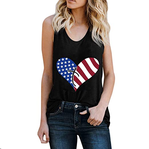 3a97923ee7f80 Image Unavailable. Image not available for. Color  Blouse Women s 4th of  July Independence Day American Flag Cat Print Sleeveless T-Shirt Cami