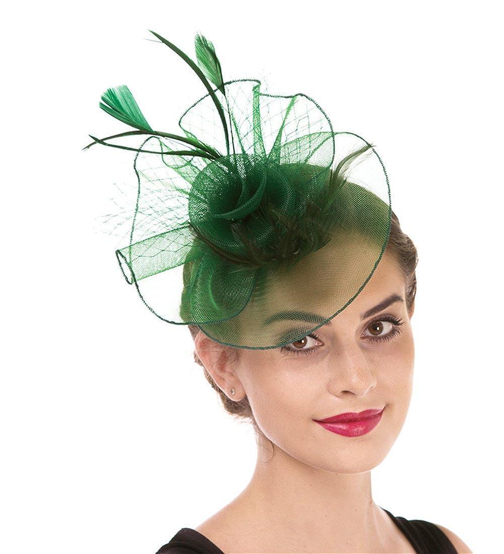 Hj1green Fascinator Women's Organza Church Kentucky Derby British Bridal Tea Party Wedding Hat Summer Ruffles Cap