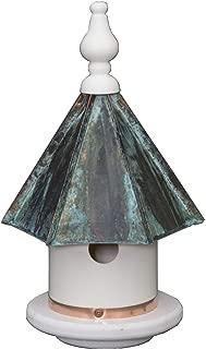 "product image for 13"" Patina Copper Top Birdhouse - Beautiful Weatherproof Azek Vinyl Wren Bird Condo House Amish Handcrafted in Lancaster Pennsylvania USA"