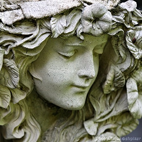 Garden Angel / Portrait / Sensitive Stone Sculpture with Captivating Face / Fine Art Photography Print