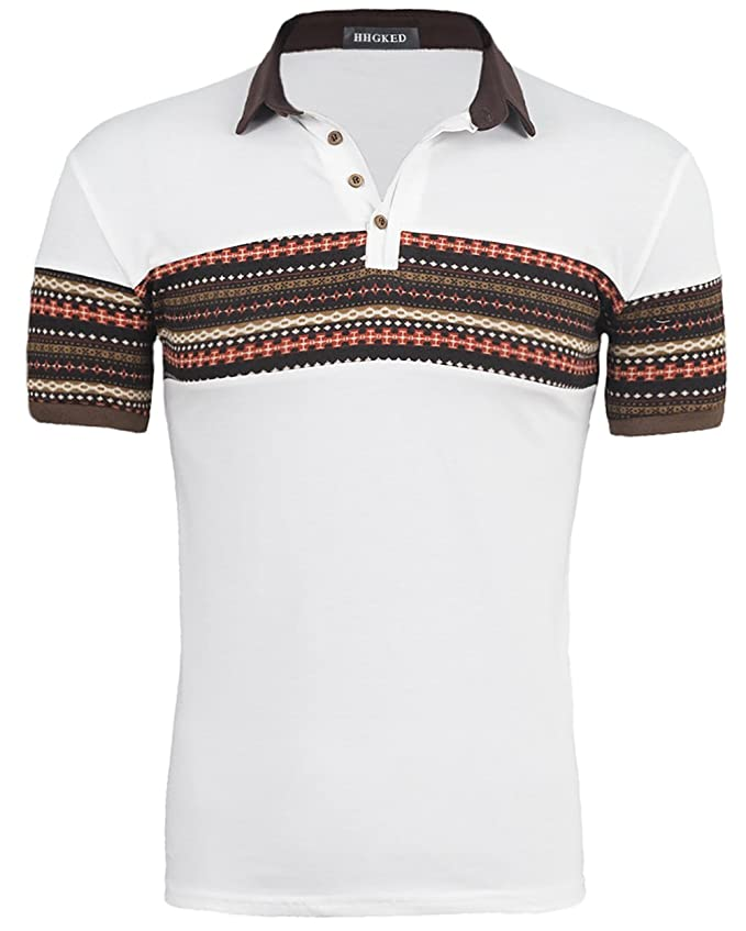 1950s Men's Shirt Styles – Dress Shirts to Casual Pullovers Mens retro print polo short sleeve t-shirts  AT vintagedancer.com