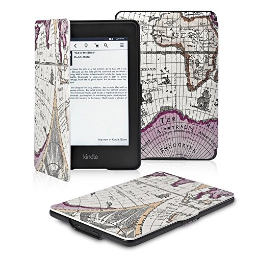OMOTON Kindle Paperwhite Case Cover The Thinnest and Lightest PU Leather Smart Cover for All-New Kindle Paperwhite (Fits All versions:2012,2013,2014,2015and 2016 All-new 300 PPI Versions),Rose Red Map