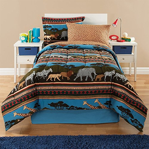 African Bedskirt - 6 Piece Kids Twin Safari Themed Comforter Set, African Mix Outback Reversible Bedding, Adventure with Jeeps Lions Giraffes Zebras Elephants, Unisex Bed in a Bag