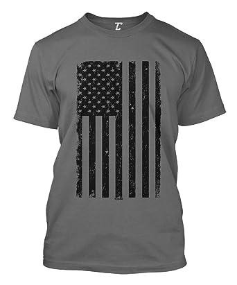 efd5b1586713 Distressed Black USA Flag - United States Men's T-Shirt (Charcoal, Small)