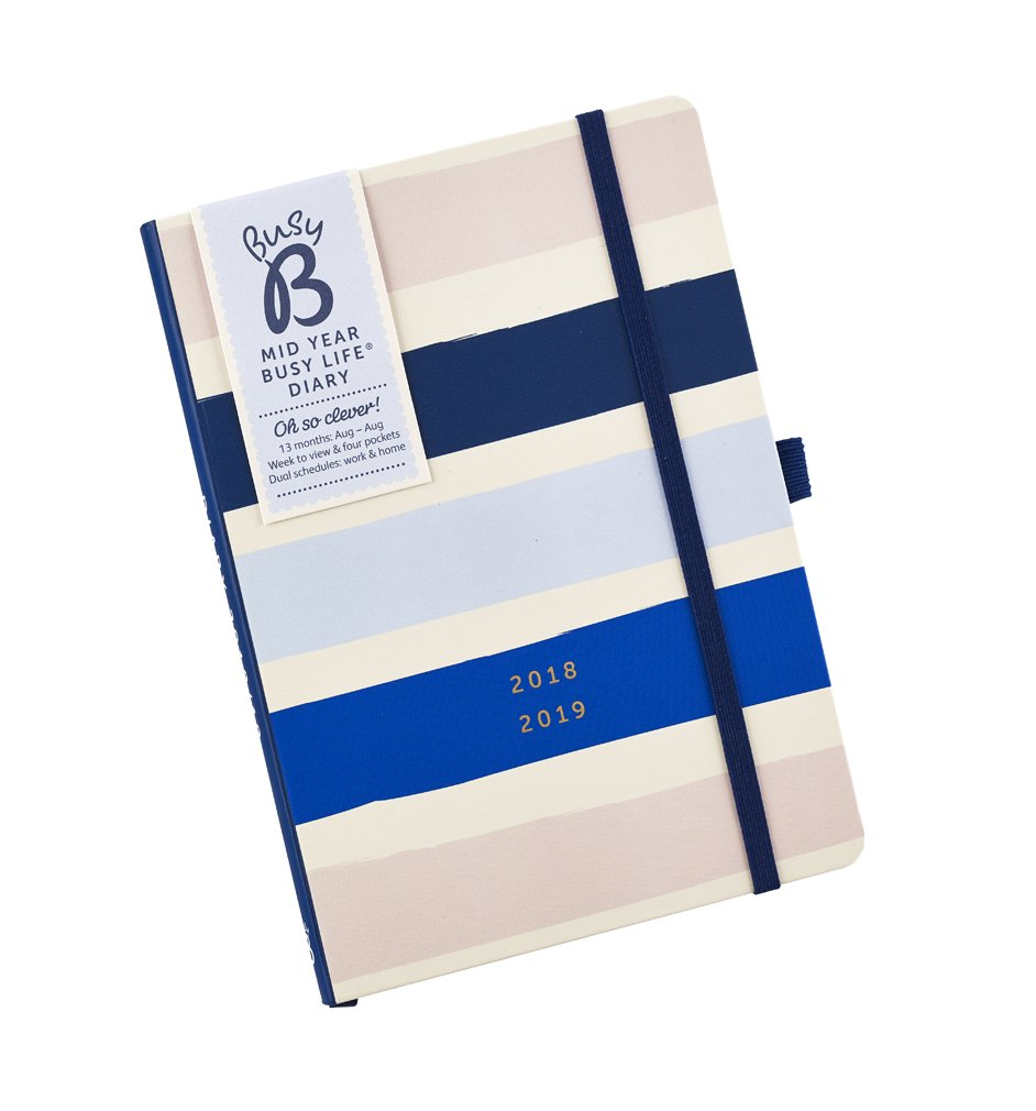 Busy B 2018-19 Mid Year Busy Life Diary - A5 Week to View Agenda Planner with Pockets and Dual schedules
