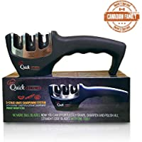 Best Kitchen Knife Sharpener Kit 3 Stage Professional Kitchen Knife Sharpening System with Tungsten Diamond Sharpener, Designed for Straight Edge Kitchen Ceramic Steel Blades, Black Knife Sharpeners