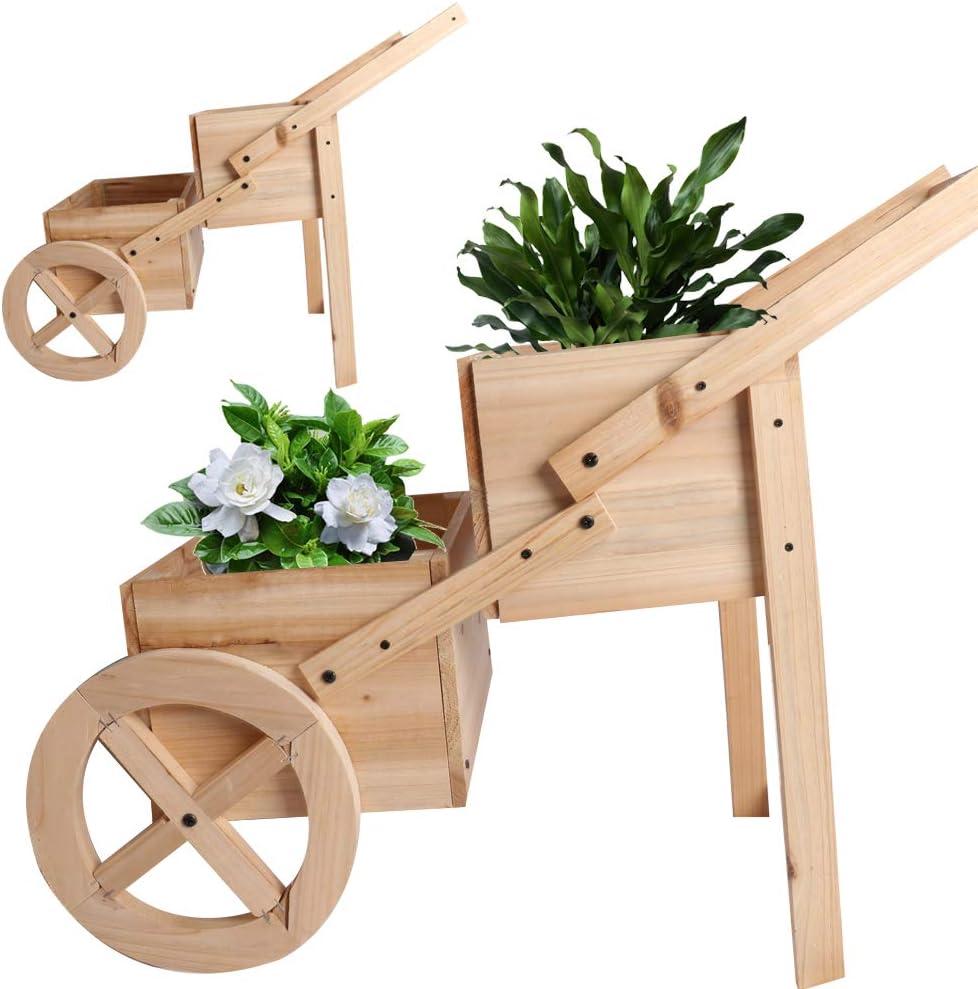 Flower Planter Two Tier Vertical Pot Wooden Wagon Cart Natural Flower Box Display
