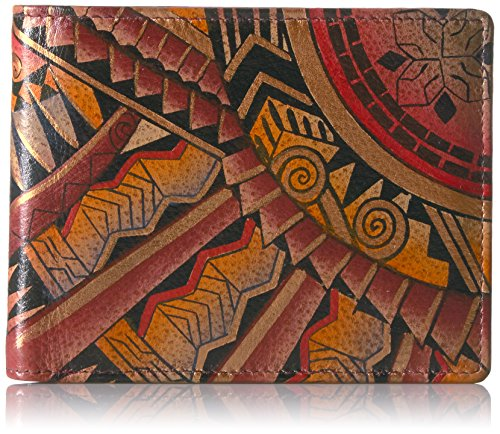 Anuschka Women's Handpainted Leather RFID Blocking Two Fold Men's Wallet,Antique Aztec