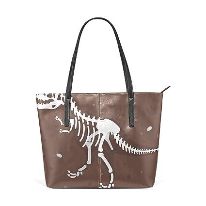 Amazon.com: Moda dinosaurio blanco esqueleto marrón bolsos ...