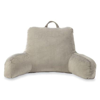 Amazoncom Velour Gray Bedrest Reading Posture Arm Pillow Soft Back