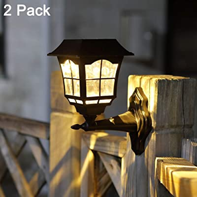 Maggift 2 Pack Solar Wall Lantern Outdoor Christmas 15 Lumens Solar Lights Wall Sconce Solar Outdoor Led Light Fixture