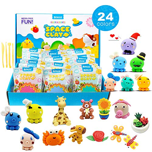 Dear Deer 24 Colors Magic Modeling Clay Ultra Light Air Dry Clay DIY Clay Craft Kit with Tools for Kids by Dear Deer