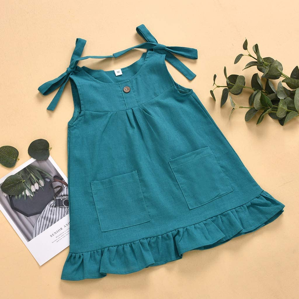 Toddler Baby Girls Casual Ruffle Sundress Kids Princess Dress Summer Casual Clothes for 2-6 Years Old