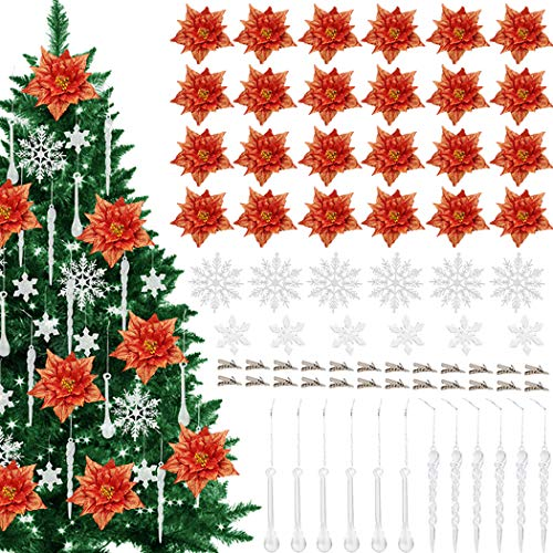 Outgeek 24 Pcs Christmas Glitter Flowers Decorative Artificial Flowers Poinsettia Christmas Flower Decoration and Icicles and Fixing Clip Set Red Christmas Tree Ornament