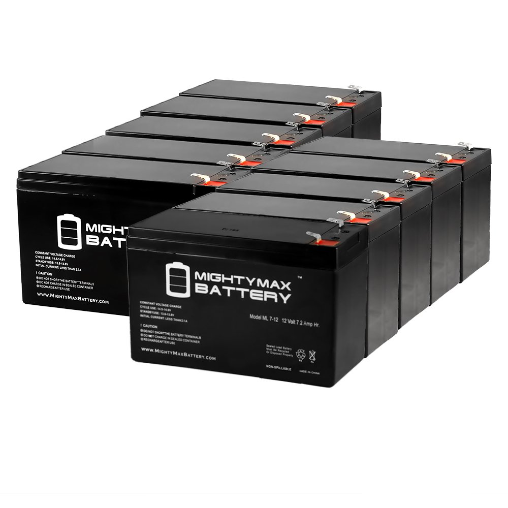 12 Volt 7ah Rechargeable Battery with F1 (.187'') Terminals - 10 Pack - Mighty Max Battery brand product