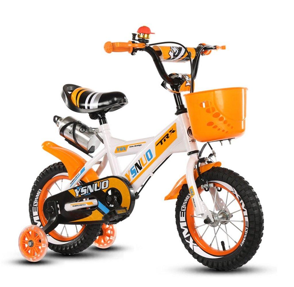 子供の自転車12|14|16|18インチアウトドアの子供ベイビーキッドマウンテンバイクフラッシュトレーニングホイールで2歳から10歳の男の子の女の子の贈り物|ウォーターボトル|プラスチックバスケット安全負荷50KG B0789G26PN 16 inches|オレンジ オレンジ 16 inches