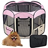48×36 Inches Large Waterproof Soft Sided Deluxe Pop-Up Playpen Octagon Pen Pink Exercise Training Animal w/ 8 Panels Shell & Mesh Cover Review