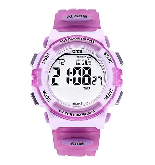 OTS - Niños Reloj Digital Multifuncional Impermeable Regalo Infantil para Niñas Alarma Calentario Cronógrafo Electrónico con Luz - Morado: Amazon.es: ...