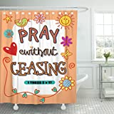 Breezat Shower Curtain Christian Cartoon Doodle Text with the Bible Scripture Verse Pray Without Ceasing Biblical Waterproof Polyester Fabric 72 x 72 Inches Set with Hooks