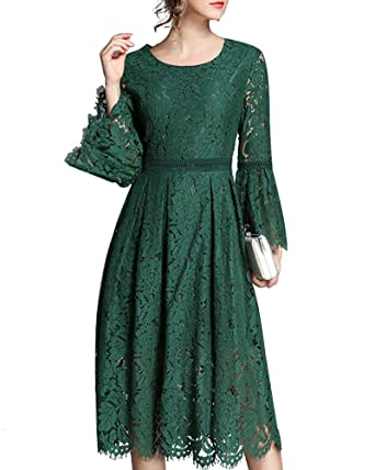 Aofur Womens Ladies Stunning Lace Floral Celeb Inspired Party Wedding Dress Evening Formal Prom Dress (