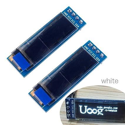 0 91'' OLED LCD Display Module I2C IIC 128x32 Serial White 0 91 inch 12832  SSD1306 LCD Screen for Arduino ESP8266 ESP32 STM32 3 3-5V(Pack of 2PCS)