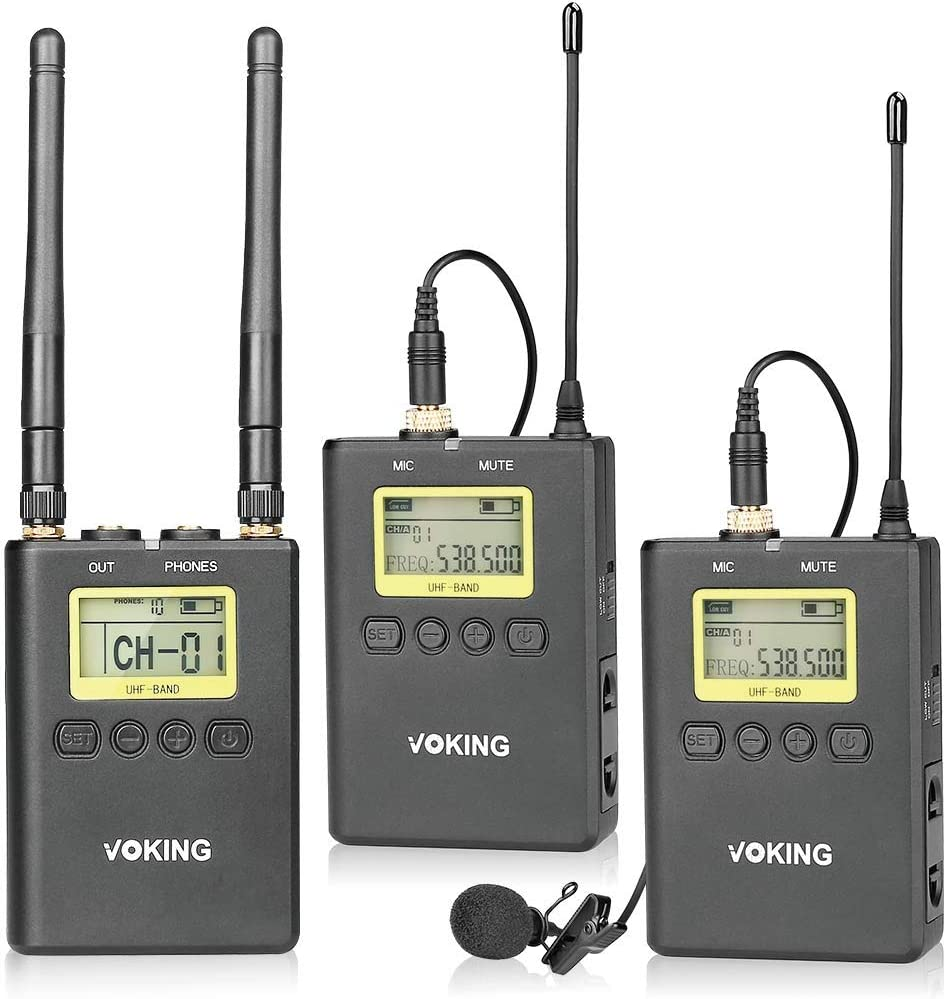2 Lav Mics Voking VK WM220 Professional Wireless Lavalier Microphone System with 2 Transmitters Portable Receiver and Shoe Mount for DSLR Cameras
