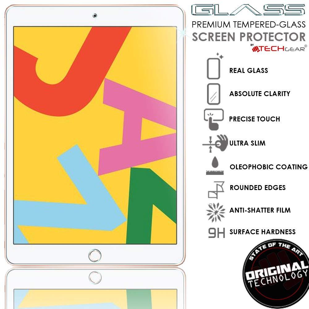 Resistente ai Graffi Ultra Chiaro TECHGEAR 2 Pezzi Vetro Temperato Compatibile con iPad 7 10.2 2019 - Autentica Pellicola protecttiva in Vetro Temperato Salvaschermo Bordo 2.5D Durezza 9H