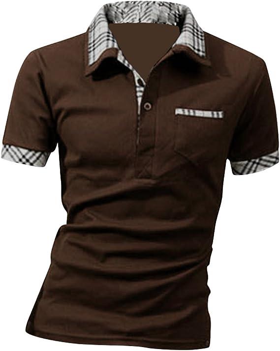 Boom Fashion Slim Manga Corta Ocasional Camiseta Polo para Hombre ...