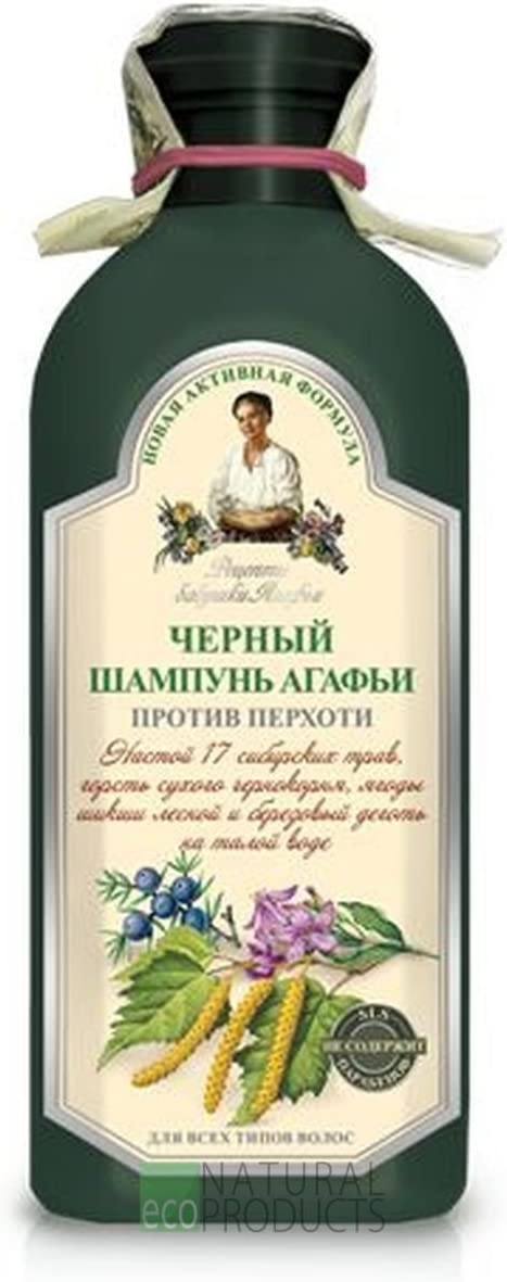 Champú Black Dand Ruff with Birch Tar and herbs for All Hair types 350ml by Recipes Grandma Agafia