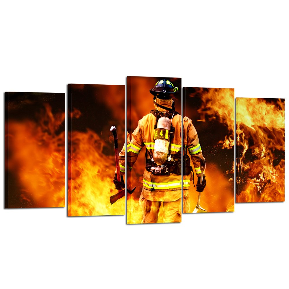 Kreative Arts - No Greater Love Fireman Back Canvas Prints Fire Fighter Inspirational Framed Art Print Wall Décor Picture for Home Living Decorative (Large Size 60x32inch) by Kreative Arts