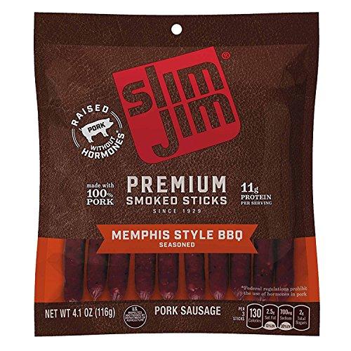 Smoked Beef (Slim Jim Premium Smoked Meat Sticks, Memphis Style BBQ, 4.1 Ounce)