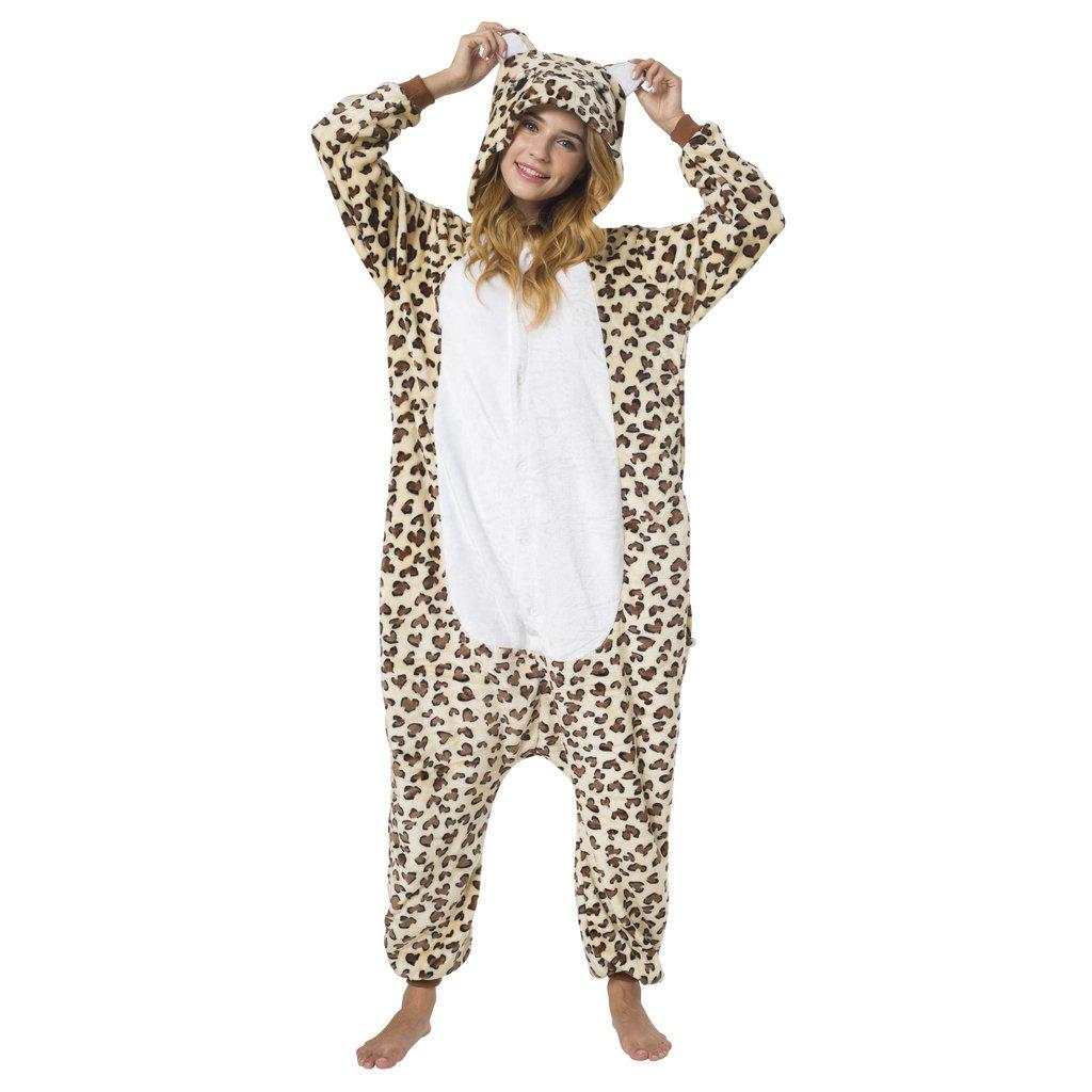 Leopard Kost/üm-Anzug Onesie//Jumpsuit Einteiler Body f/ür Erwachsene Damen Herren als Pyjama oder Schlafanzug Unisex Katara 1744 viele verschiedene Tiere