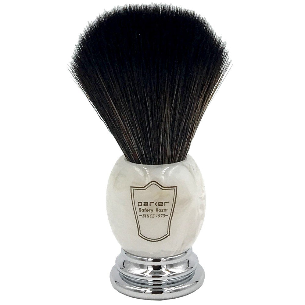 Parker Safety Razor Ultra Soft SYNTHETIC Bristle Shaving Brush with Marbled Ivory Handle - Stand Included