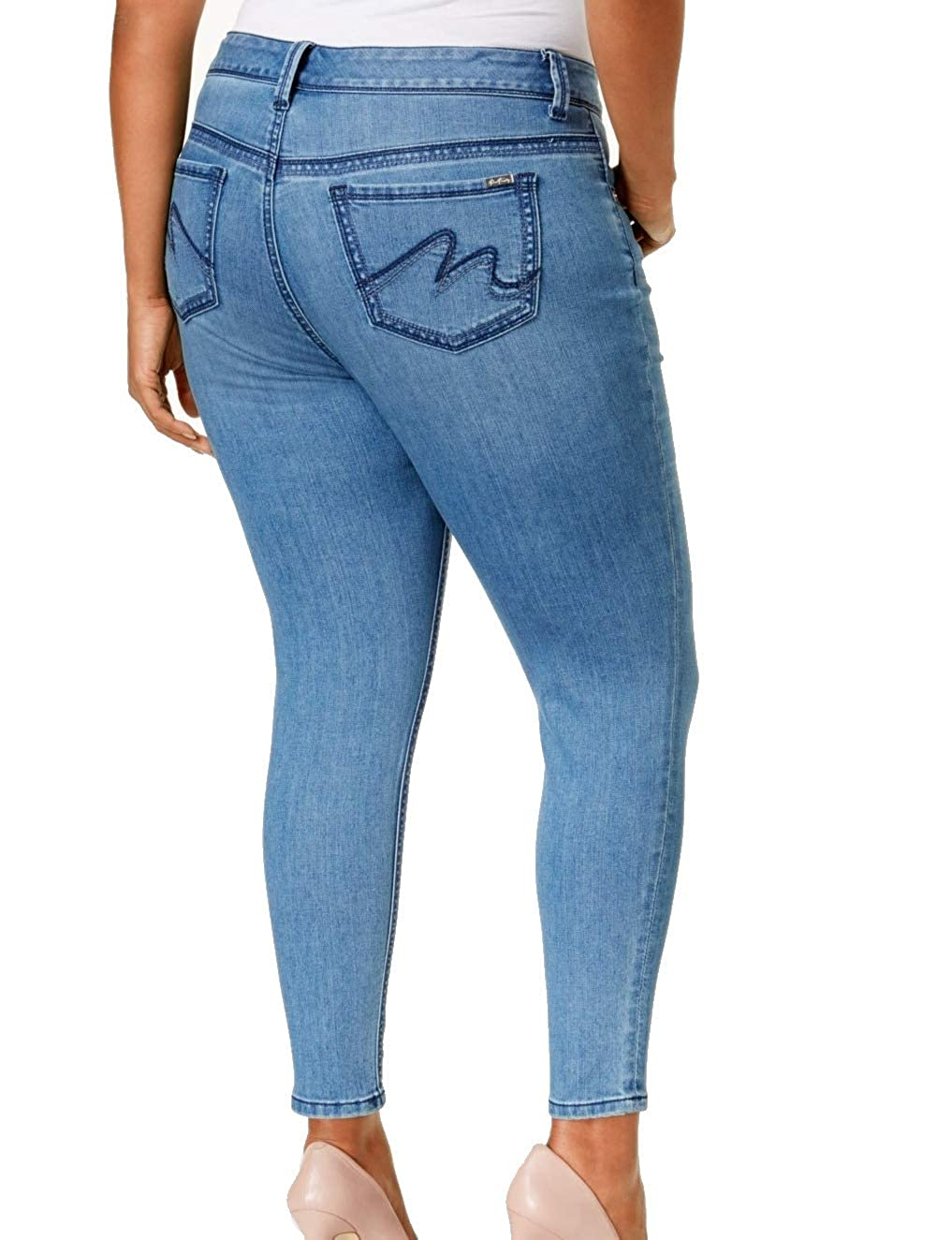 cfc6106fcb91d Melissa McCarthy Seven7 Womens Plus Slimming High Rise Pencil Jeans Blue 24  at Amazon Women s Clothing store