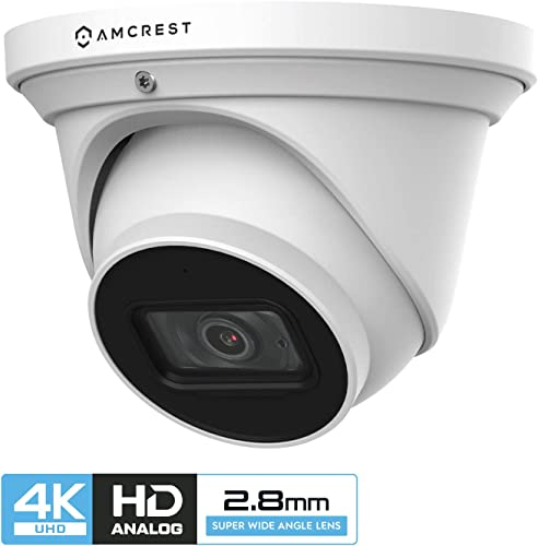 Amcrest ProHD 4K Dome Outdoor Security Camera, 4K 8-Megapixel , Analog Camera, 164ft Night Vision, IP67 Weatherproof Housing, 2.8mm Lens, 110 Wide Angle, Built-in Microphone, White AMC4KDM28-W